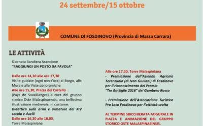 Torna la Giornata della Bandiera Arancione a FOSDINOVO, DOMENICA 24 SETTEMBRE