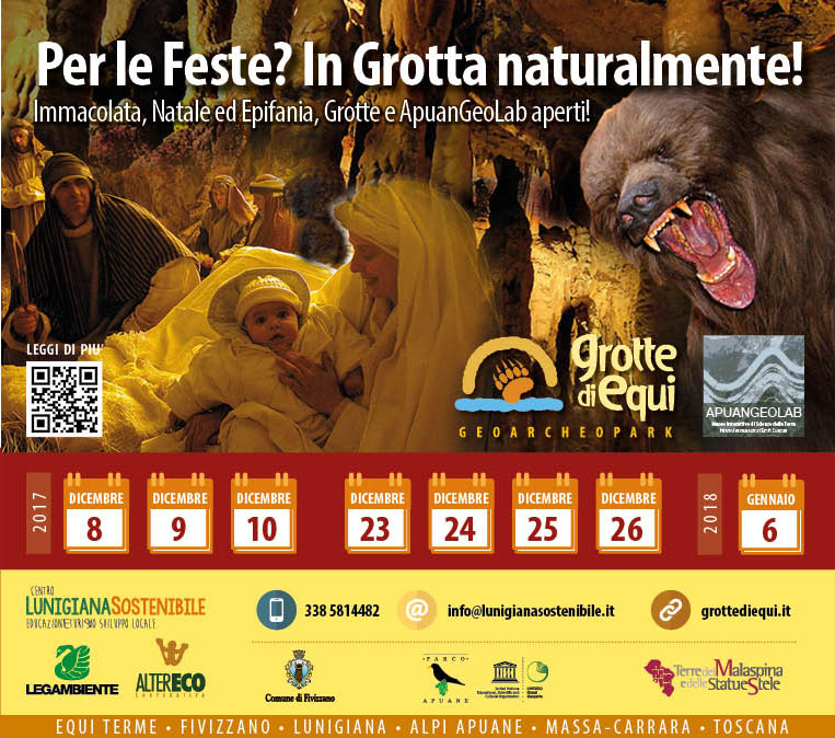 Grotte di Equi Terme aperte per il presepe vivente e per tutte le Feste!